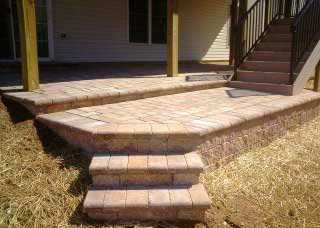 stone paver porch under deck